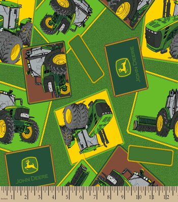 John Deere Patches Print Fabric