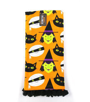 Maker's Halloween Decor 16''x26'' Towel-Tossed Cats, Witches & Mummies