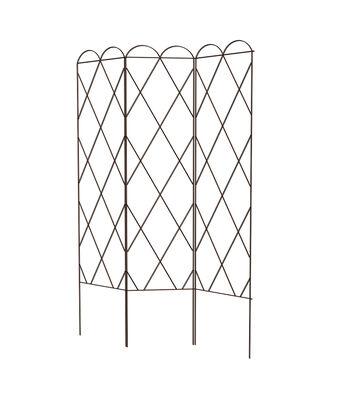 Hello Spring Gardening 3 Panel Steel Trellis-Rustic