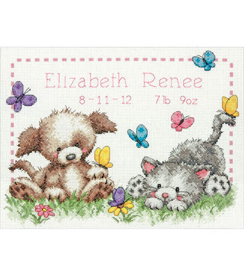 "Pet Friends Baby Birth Record Counted Cross Stitch Kit-12""X9"" 14 Count"