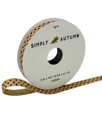 Simply Autumn Ribbon 3/8''x9'-Burgundy Dots on Natural