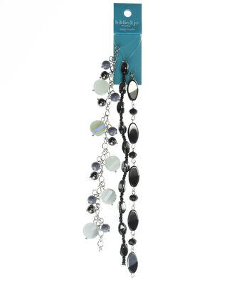 hildie & jo 3 Pack 7'' Beads Strands-Black, Purple & Crystal