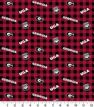 Georgia Bulldogs Flannel Fabric-Checks