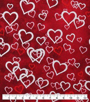 Valentine's Day Cotton Fabric-Foiled Falling Hearts