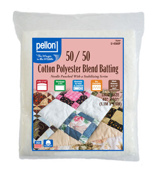 Pellon 50/50 Cotton Poly Blend Batting-Crib