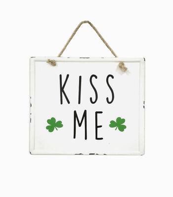 St. Patrick's Day Small Enamel Wall Decor-Kiss Me & Shamrocks