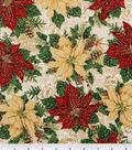 Maker\u0027s Holiday Cotton Fabric 44\u0022-Poinsettias and Music