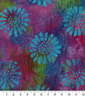 Cotton Batik Apparel Fabric 42\u0022-Purple Pink Flowers Textured