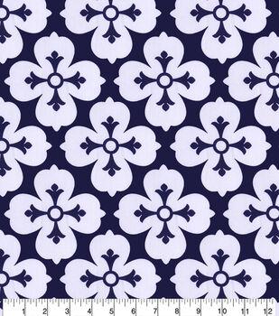 100% Linen Fabric-Navy White Big Flower