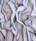 100% Linen Fabric-White Multi YD Awning Stripe