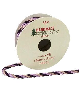Handmade Holiday Christmas Twist Cord Ribbon 1/5''x9'-Purple