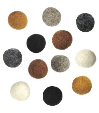 "Feltworks Earth Tone Balls-3/4"" 12/Pkg"