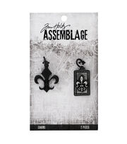 Tim Holtz Assemblage Pack of 2 Fleur de Lis Charms, , hi-res
