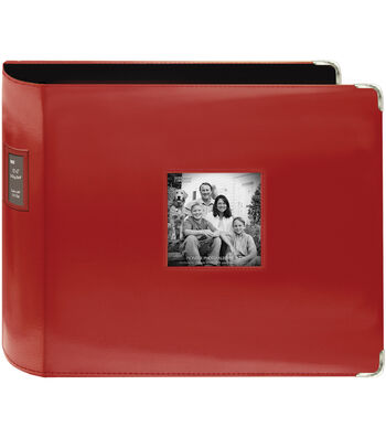 """Pioneer Sewn Leatherette 3-Ring Binder 12""""X12""""-Red"""