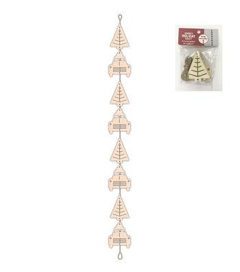 Maker's Holiday Craft Christmas 8 pk Wood Garland-Cars & Trees