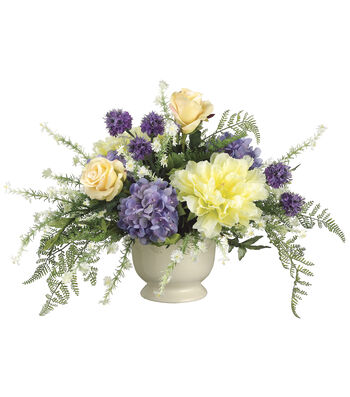 Bloom Room Luxe 15'' Hydrangea, Peony & Rose In Ceramic Vase-Purple