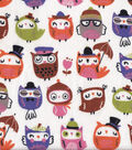 Snuggle Flannel Fabric -Owls In Hats