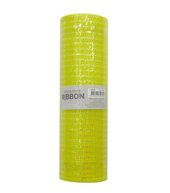 Decorative Ribbon Metallic Deco Mesh 10''x10 yds-Yellow