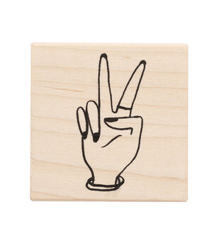 American Crafts Wooden Stamp Peace Hand
