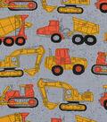 Novelty Cotton Fabric 43\u0022-Construction Trucks On Gray