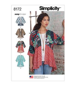 Simplicity Pattern 8172 Misses' Easy-to-Sew Kimonos-Size A (XXS-XXL)