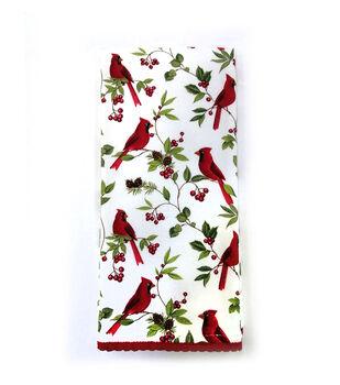 Handmade Holiday Christmas 16''x26'' Cotton Towel-Cardinals