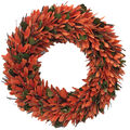 Blooming Autumn 18\u0027\u0027 Woodchip & Twig Wreath-Orange & Green