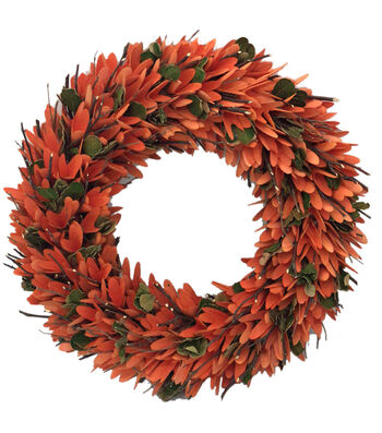 Blooming Autumn 18'' Woodchip & Twig Wreath-Orange & Green