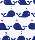 Snuggle Flannel Fabric -Navy Happy Whales