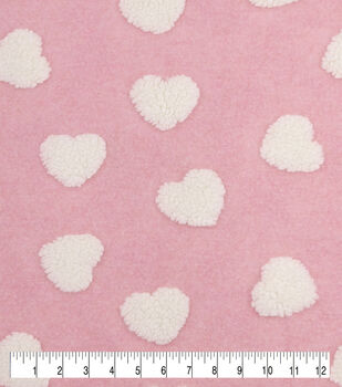 Faux Fur Jacquard Fabric-White Hearts on Pink