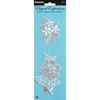 Simplicity Elegant Expressions Iron-On Applique-Cream Embroidered Floral-2 pcs