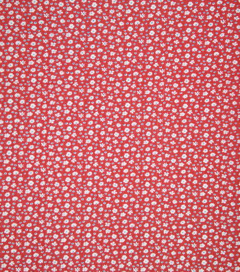 Doodles Fabric 43''-Dotted & Petite Flowers on Red