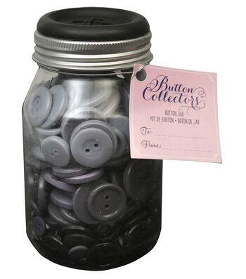 Button Collector Mason Jar-Grey Ombre