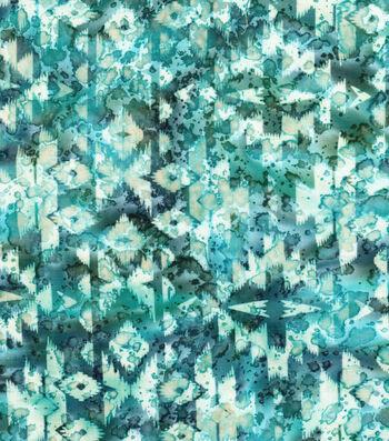 "Indian Batiks Cotton Fabric 44""-Multi Blue Geometrics"