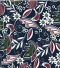 Quilter\u0027s Showcase Cotton Fabric-Floral Birds & Dots on Navy