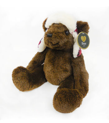 Holiday 11'' Sitting Boy Bear with Trapper Hat
