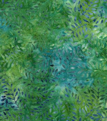 "Legacy Studio Batik Cotton Fabric 43""-Green Floral Leaf"