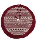 Maker\u0027s Holiday Christmas 25\u0027\u0027x12\u0027\u0027 Tree Skirt-Red Fair Isle
