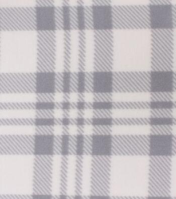 Blizzard Fleece Fabric-Luke Gray & White Plaid
