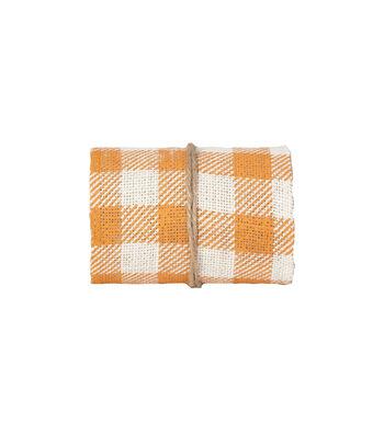 Simply Autumn Burlap Roll 5''x15'-Orange Buffalo Check