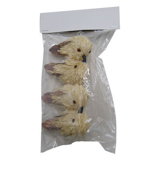 Blooming Autumn 4 pk Corn Husk Birds with Clips-White