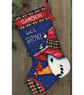 Snowman Perch Needlepoint Kit-13\u0022x20\u0022 Stitched In Wool&Thread
