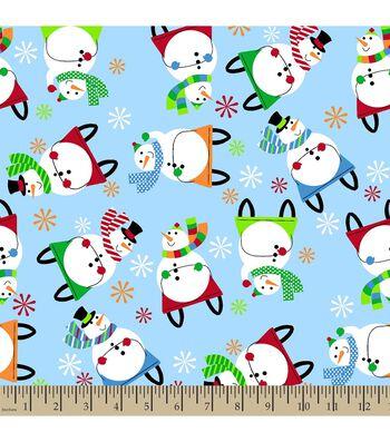 Christmas Print Fabric-Sledding Snowman