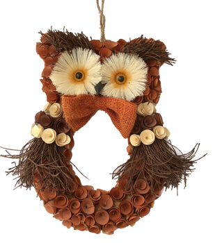 Blooming Autumn Wood Chip Owl Wreath