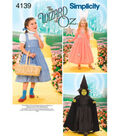 Simplicity Wizard of Oz Kids Costume Patterns 4139A-Size 3 4 5 6 7