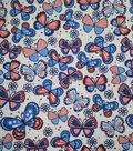 Doodles Textured Fabric 43\u0027\u0027-Red, White & Blue American Butterflies