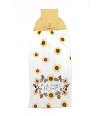 Simply Autumn 16''x17'' Granny Towel-Welcome Home & Sunflower