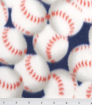 "3 Yard Pre-Cut Blizzard Fleece Fabric 59""-Packed Baseballs"