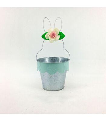 Easter Decor Metal Bunny Basket-Green