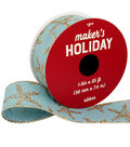 Maker\u0027s Holiday Christmas Ribbon 1.5\u0027\u0027x25\u0027-Glitter Starfishes on Blue